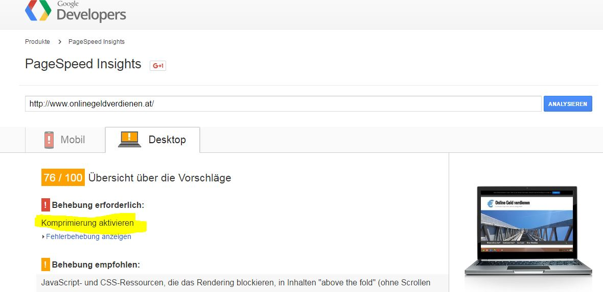 Wordpress schneller machen - PageSpeed Screenshot von OnlineGeldverdienen.at