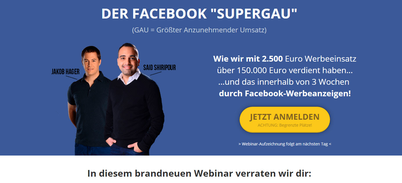 "Kostenloses Webinar zum Thema Facebook Marketing – der ""Facebook Meisterkurs"""